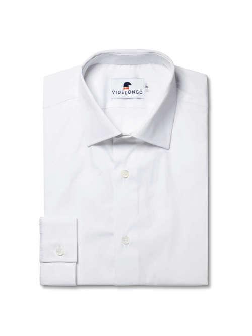 Chemise blanche en popeline de coton et élasthanne
