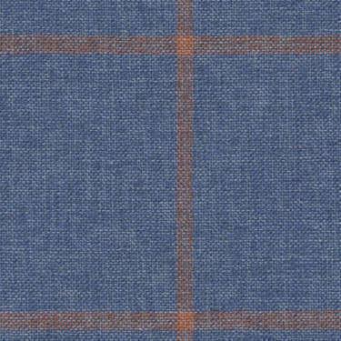 Tissu Holland and Sherry pour veste sur-mesure coton, laine et soie bleu à carreaux fenêtre corail