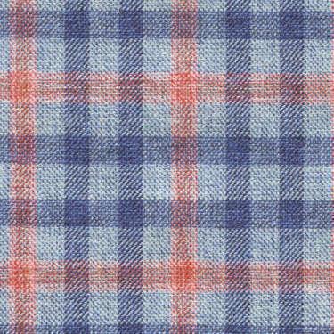 Tissu Holland and Sherry pour veste sur-mesure coton, laine et soie bleu clair à petits carreaux fenêtre corail et bleu