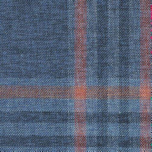 Tissu Holland and Sherry pour veste sur-mesure coton, laine et soie bleu tartan bleu marine et corail