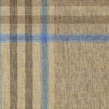 Tissu Holland and Sherry pour veste sur-mesure coton, laine et soie sable tartan Prince de Galles bleu clair et marron