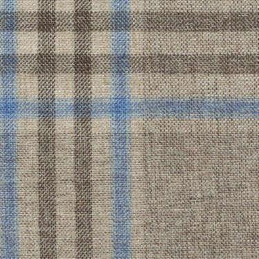 Tissu Holland and Sherry pour veste sur-mesure coton, laine et soie café tartan Prince de Galles bleu clair et marron