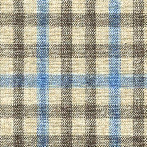 Tissu Holland and Sherry pour veste sur-mesure coton, laine et soie beige à petits carreaux fenêtre sable et bleu clair