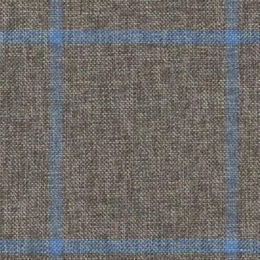 Tissu Holland and Sherry pour veste sur-mesure coton, laine et soie marron à carreaux fenêtre bleu