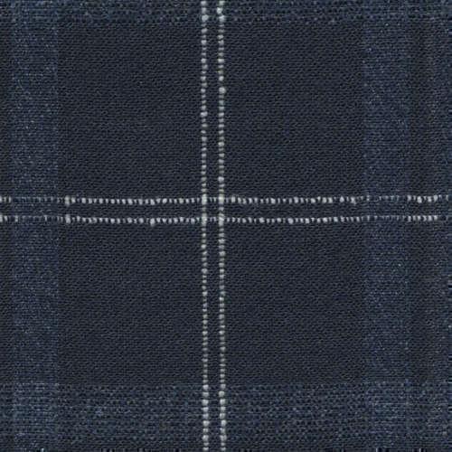 Tissu Holland and Sherry pour veste sur-mesure laine et soie bleu marine à carreaux fenêtre blancs