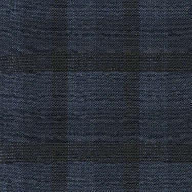 Tissu Holland and Sherry pour veste sur-mesure laine et soie bleu marine à carreaux fenêtre noirs