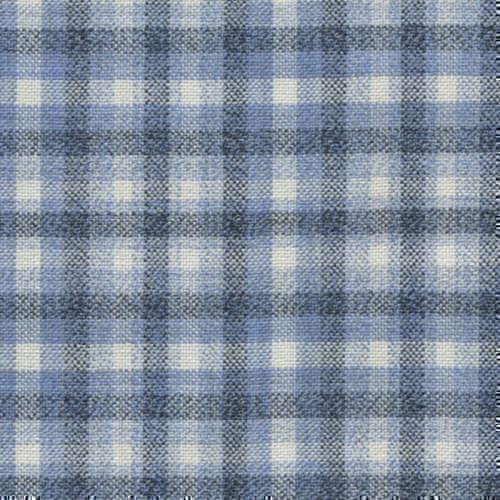 Tissu Holland and Sherry pour veste sur-mesure 100% laine bleu clair à carreaux bleu et blanc