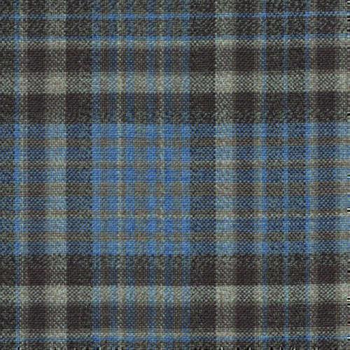 Tissu Holland and Sherry pour veste sur-mesure 100% laine tartan bleu clair et marron