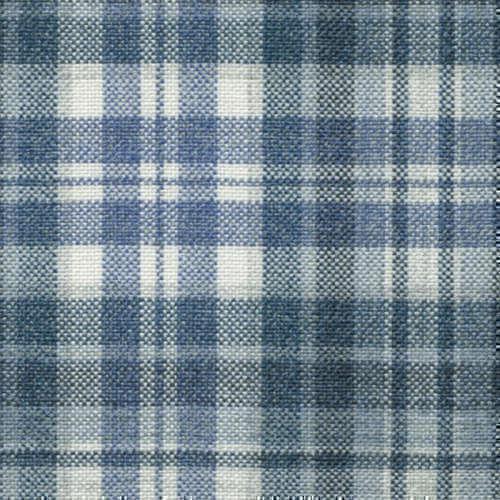 Tissu Holland and Sherry pour veste sur-mesure 100% soie tartan bleu mer et blanc