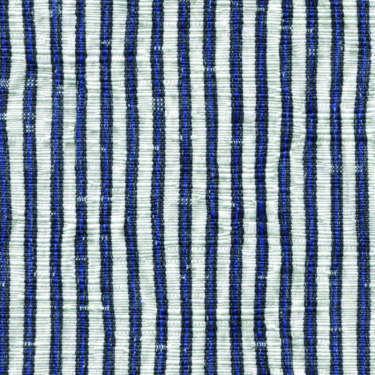 Tissu Holland and Sherry pour veste sur-mesure coton et élastane blanc à rayures étroites bleu marine