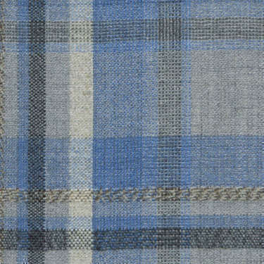 Tissu Holland and Sherry pour veste sur-mesure laine et soie tartan irrégulier gris clair et bleu
