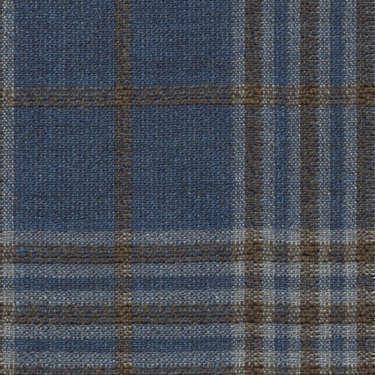 Tissu Holland and Sherry pour veste sur-mesure laine et soie bleu classique Prince de Galles marron