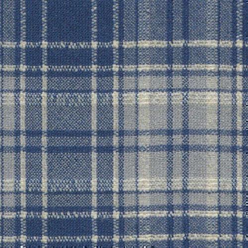 Tissu Holland and Sherry pour veste sur-mesure laine et soie bleu tartan blanc