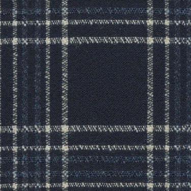 Tissu Holland and Sherry pour veste sur-mesure laine et soie bleu marine tartan blanc et bleu ardoise