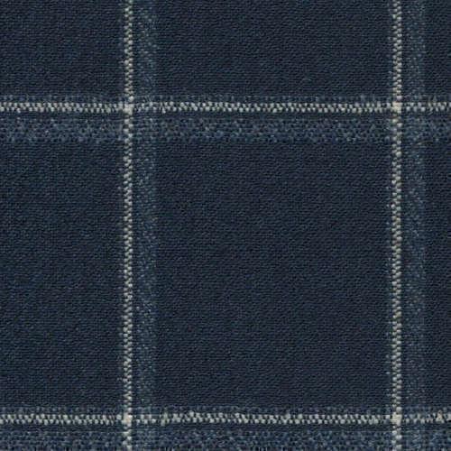 Tissu Holland and Sherry pour veste sur-mesure laine et soie bleu marine à carreaux fenêtre blanc et bleu ardoise