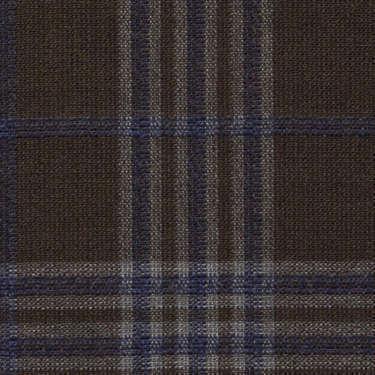 Tissu Holland and Sherry pour veste sur-mesure laine et soie marron Prince de Galles bleu marine