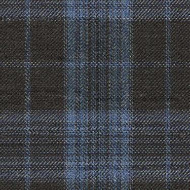 Tissu Holland and Sherry pour veste sur-mesure 100% laine marron à carreaux bleu clair