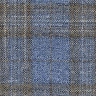 Tissu Holland and Sherry pour veste sur-mesure 100% laine bleu clair à carreaux fenêtre beige