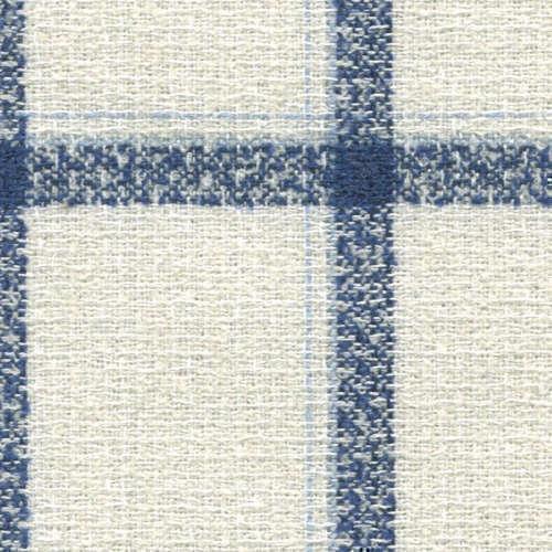 Tissu Holland and Sherry pour veste sur-mesure laine, coton et polyamide blanc à carreaux fenêtre bleu marine