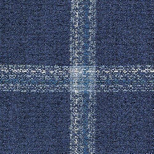 Tissu Holland and Sherry pour veste sur-mesure laine, coton et polyamide bleu à carreaux fenêtre bleu clair