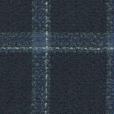 Tissu Holland and Sherry pour veste sur-mesure laine, coton et polyamide bleu marine à carreaux fenêtre bleu clair