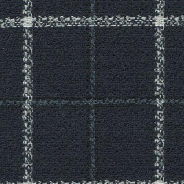 Tissu Holland and Sherry pour veste sur-mesure laine, coton et polyamide bleu marine à carreaux fenêtre blanc et bleu ardoise