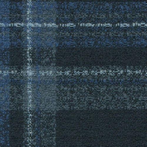 Tissu Holland and Sherry pour veste sur-mesure laine, coton et polyamide bleu marine tartan bleu clair