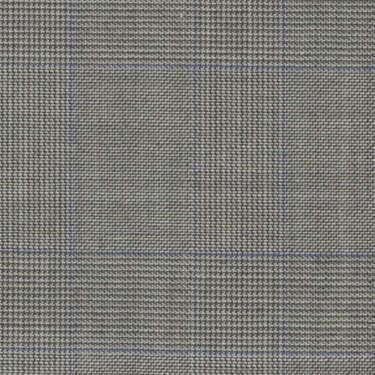 Tissu Holland and Sherry pour costume sur-mesure 100% laine Prince de Galles gris clair et bleu