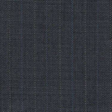 Tissu Holland and Sherry pour costume sur-mesure 100% laine gris foncé à chevrons bleu et nacré