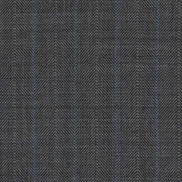 Tissu Holland and Sherry pour costume sur-mesure 100% laine gris à chevrons bleu et nacré