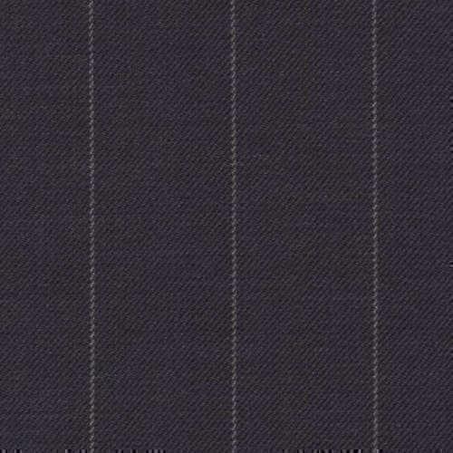 Tissu Holland and Sherry pour costume sur-mesure 100% laine bleu marine à rayures craie