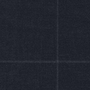 Tissu Holland and Sherry pour costume sur-mesure 100% laine bleu marine à carreaux fenêtres