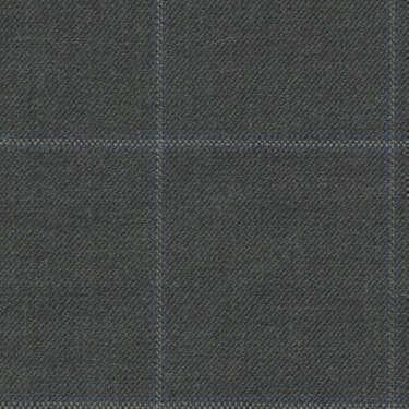 Tissu Holland and Sherry pour costume sur-mesure 100% laine gris foncé à carreaux fenêtres gris et bleu