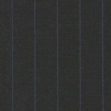 Tissu Holland and Sherry pour costume sur-mesure 100% laine gris foncé à rayures bleues