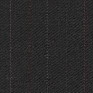 Tissu Holland and Sherry pour costume sur-mesure 100% laine anthracite à rayures rouges