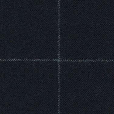 Tissu Holland and Sherry pour costume sur-mesure flanelle bleu marine à carreaux fenêtres craie