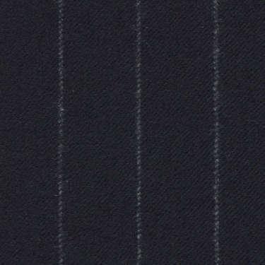 Tissu Holland and Sherry pour costume sur-mesure flanelle bleu marine à fines rayures craie