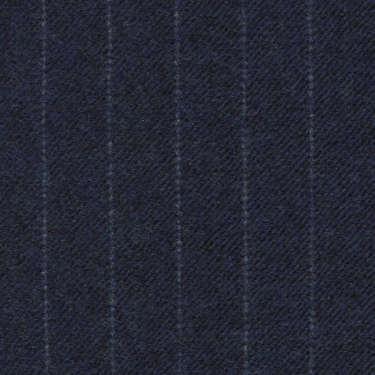 Tissu Holland and Sherry pour costume sur-mesure flanelle bleu marine à rayures étroites craie