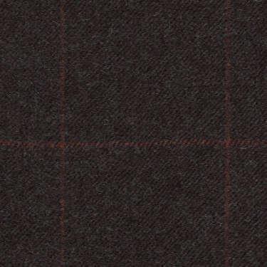 Tissu Holland and Sherry pour costume sur-mesure flanelle gris charbon à carreaux fenêtres craie rouge