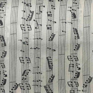 Tissu pour doublure veste sur-mesure motif notes de musique sur fond blanc