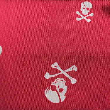 Tissu pour doublure veste sur-mesure motif squelette sur fond rouge