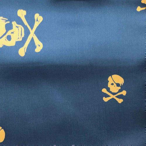Tissu pour doublure veste sur-mesure motif squelette sur fond bleu