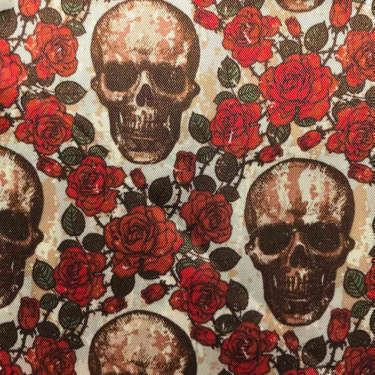 Tissu pour doublure veste sur-mesure motif squelette fleur