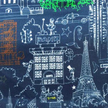 Tissu pour doublure veste sur-mesure motif tour Eiffel sur fond bleu marine