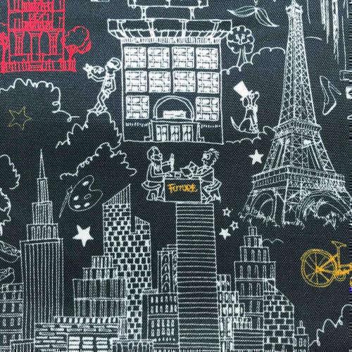 Tissu pour doublure veste sur-mesure motif tour Eiffel sur fond noir