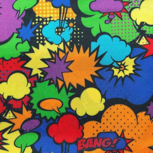 Tissu pour doublure veste sur-mesure motif cartoons bulles