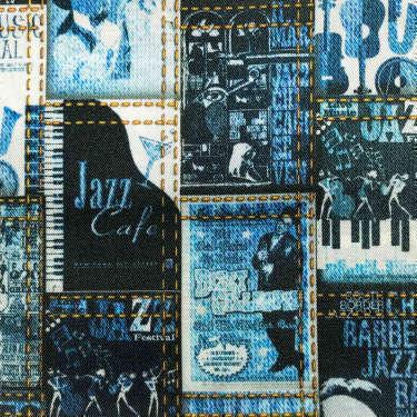 Tissu pour doublure veste sur-mesure motif affiche jazz sur fond bleu