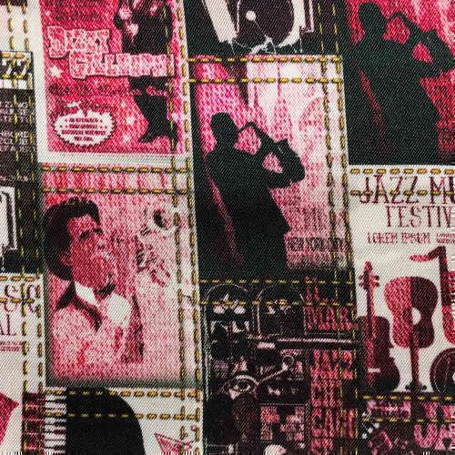 Tissu pour doublure veste sur-mesure motif affiche jazz sur fond rouge