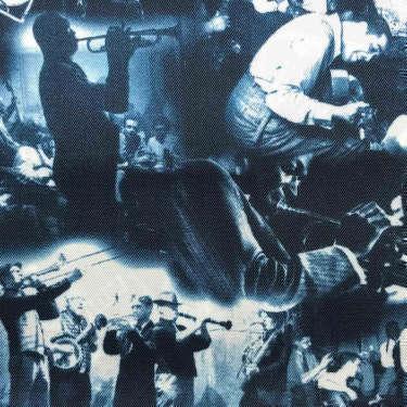 Tissu pour doublure veste sur-mesure motif ambiance jazz sur fond bleu
