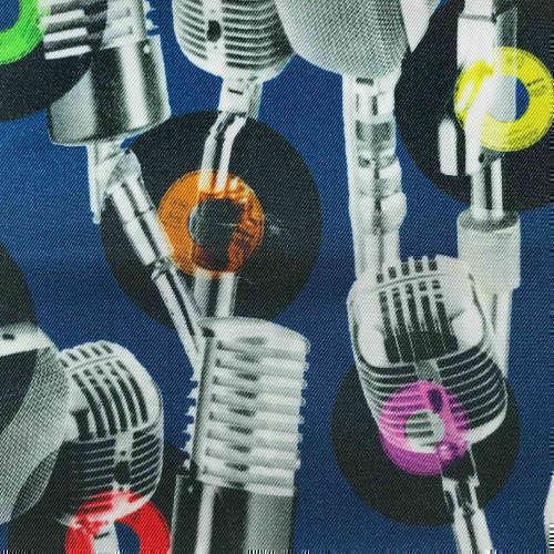Tissu pour doublure veste sur-mesure motif micro vintage sur fond bleu